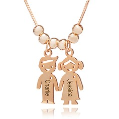 Custom 18k Rose Gold Plated Silver Engraving/Engraved Couple Two Name Necklace With Kids Names - Birthday Gifts Mother's Day Gifts