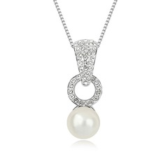 Charming Platinum Plated With Pearl Ladies' Necklaces
