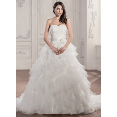Ball-Gown Sweetheart Chapel Train Organza Wedding Dress With Ruffle Flower(s)