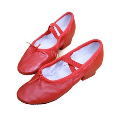 Women's Kids' Real Leather Heels Ballet Dance Shoes