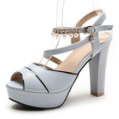 Frauen Kunstleder Stämmiger Absatz Sandalen Absatzschuhe Plateauschuh Peep Toe mit Nachahmungen von Perlen Schuhe