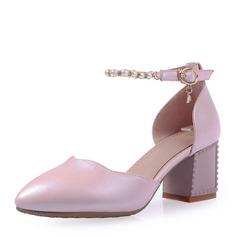 Frauen Kunstleder Stämmiger Absatz Sandalen Absatzschuhe Geschlossene Zehe Mary Jane mit Nachahmungen von Perlen Schnalle Schuhe