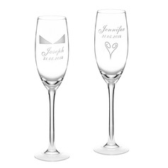 Personalized Elegant Glass Toasting Flutes  (118040925)