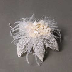 Elegant Feather/Tulle/Leatherette Fascinators/Combs & Barrettes