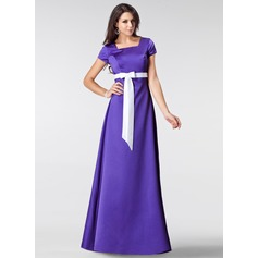 A-Line/Princess Square Neckline Floor-Length Satin Bridesmaid Dress With Sash Bow(s)