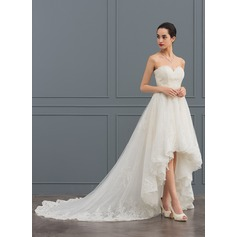 A-Line Sweetheart Asymmetrical Tulle Lace Wedding Dress With Beading
