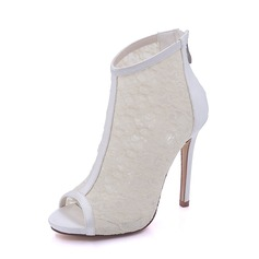 Women's Silk Like Satin Mesh Stiletto Heel Boots Platform Pumps Sandals With Zipper