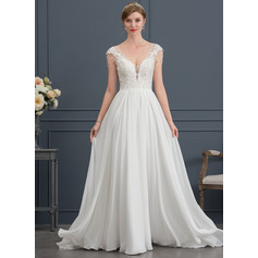 A-Line/Princess V-neck Sweep Train Chiffon Wedding Dress With Beading Sequins