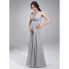 Empire Square Neckline Floor-Length Chiffon Maternity Bridesmaid Dress With Ruffle Beading Sequins (045004412)