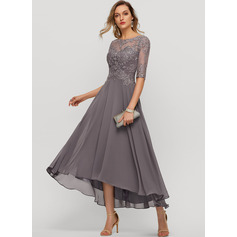 A-Line Scoop Neck Asymmetrical Chiffon Evening Dress With Beading Sequins (271229406)