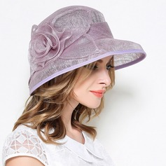 Ladies' Vintage Linen With Silk Flower Bowler/Cloche Hat