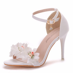 Women's Leatherette Stiletto Heel Peep Toe Sandals With Buckle Satin Flower