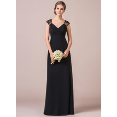 Empire Cap Sleeve Floor-length Chiffon Lace Bridesmaid Dress
