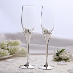 Bowknot design Lead-free Glass/Aluminum Toasting Flutes (Set Of 2)