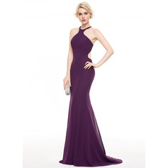 Trumpet/Mermaid Scoop Neck Sweep Train Chiffon Evening Dress With Bow(s)
