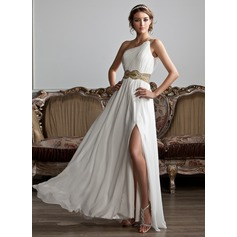 One-Shoulder Floor-Length Chiffon Prom Dresses With Ruffle Beading Sequins Split Front (272194595)