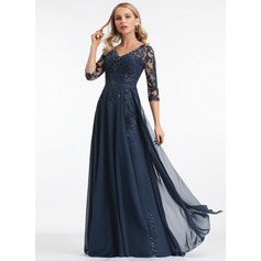 A-Line V-neck Floor-Length Chiffon Evening Dress (017198654)