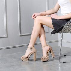المرأة سويدي كعب مكتنز صنادل مضخات منصة مع مشبك أحذية