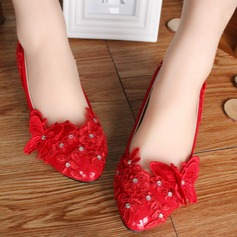 Women's Leatherette Low Heel Closed Toe Pumps With Rhinestone Sparkling Glitter Flower Lace-up
