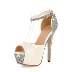 Women's Leatherette Stiletto Heel Peep Toe Platform With Sequin