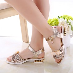 Girl's Leatherette Flat Heel Peep Toe Sandals With Bowknot Sparkling Glitter