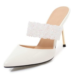 Women's PU Stiletto Heel Sandals Pumps Slingbacks Slippers With Rhinestone shoes