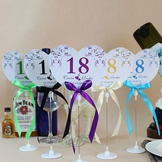 Personalized Heart Shaped Paper Table Number Cards With Holder With Ribbons