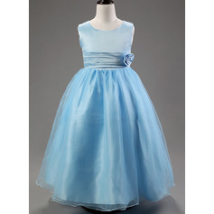 Ball Gown Ankle-length Flower Girl Dress - Cotton Blends Sleeveless Scoop Neck With Flower(s)