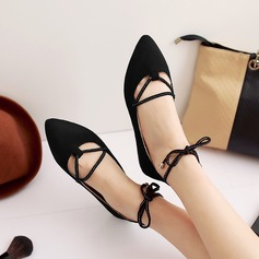 Women's Suede Flat Heel Flats With Lace-up shoes (086123494)