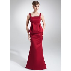 Empire Square Neckline Floor-Length Satin Maternity Bridesmaid Dress With Cascading Ruffles