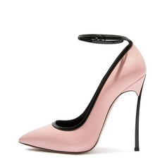 Women's Real Leather Stiletto Heel Pumps Closed Toe With Others shoes (085130361)