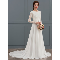 A-Line/Princess Scoop Neck Court Train Chiffon Wedding Dress With Beading (002127253)
