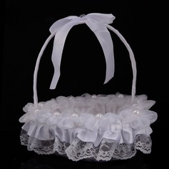 Beautiful Flower Basket in Cloth With Ribbons/Lace