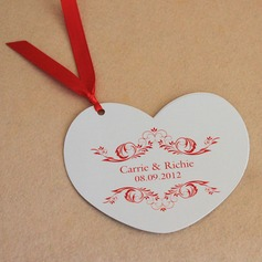 Personalized Heart Shaped Paper Invitation Cards With Ribbons