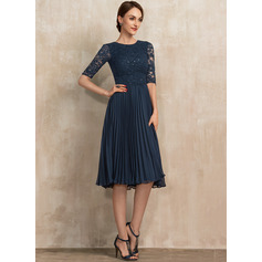 Scoop Neck Knee-Length Chiffon Lace Mother of the Bride Dress With Sequins Pleated (267236455)