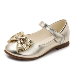 Girl's Closed Toe Microfiber Leather Flat Heel Flats Flower Girl Shoes With Bowknot Sequin Velcro