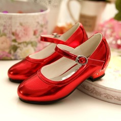 Girl's Closed Toe Leatherette Flat Heel Pumps Flower Girl Shoes With Buckle