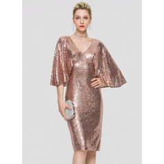 Sheath/Column V-neck Knee-Length Sequined Homecoming Dress