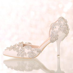 Women's Leatherette Stiletto Heel Closed Toe Pumps Sandals With Rhinestone
