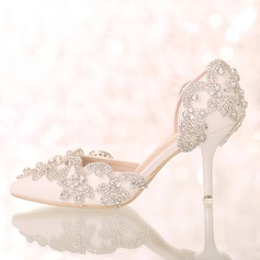 0c60bf905fb3 Women s Leatherette Stiletto Heel Closed Toe Pumps Sandals With Rhinestone
