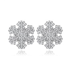 Snowflakes Shaped Copper/Zircon/Platinum Plated Ladies' Earrings