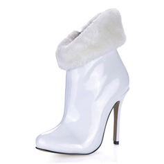 Patent Leather Stiletto Heel Ankle Boots With Zipper shoes