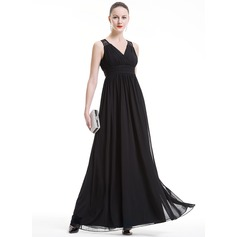 Empire V-neck Floor-Length Jersey Holiday Dress With Ruffle Lace (020080820)