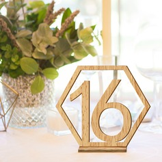 """Sweet Love""/""Happy Wedding"" Wooden Table Number Cards"