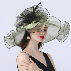 Ladies' Hottest/Romantic Organza With Silk Flower Beach/Sun Hats/Tea Party Hats (196233902)