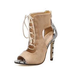 Women's Suede Stiletto Heel Pumps Boots Peep Toe Ankle Boots With Zipper Lace-up shoes