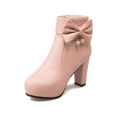Women's Leatherette Chunky Heel Platform Ankle Boots With Bowknot Ruched shoes
