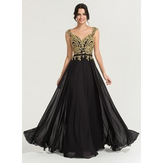A-Line V-neck Floor-Length Chiffon Evening Dress With Beading (017167687)