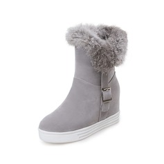 Women's Suede Flat Heel Platform Mid-Calf Boots Snow Boots With Buckle Fur shoes