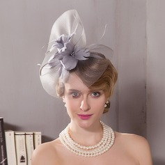 Damer' Elegant Batist med Fjäder Fascinators/Kentucky Derby Hattar/Tea Party Hattar